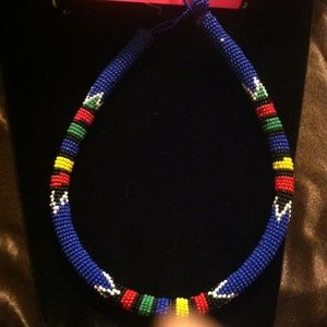 Jewelry - Africa Benin Tribe Seed Bead Cord Neckless
